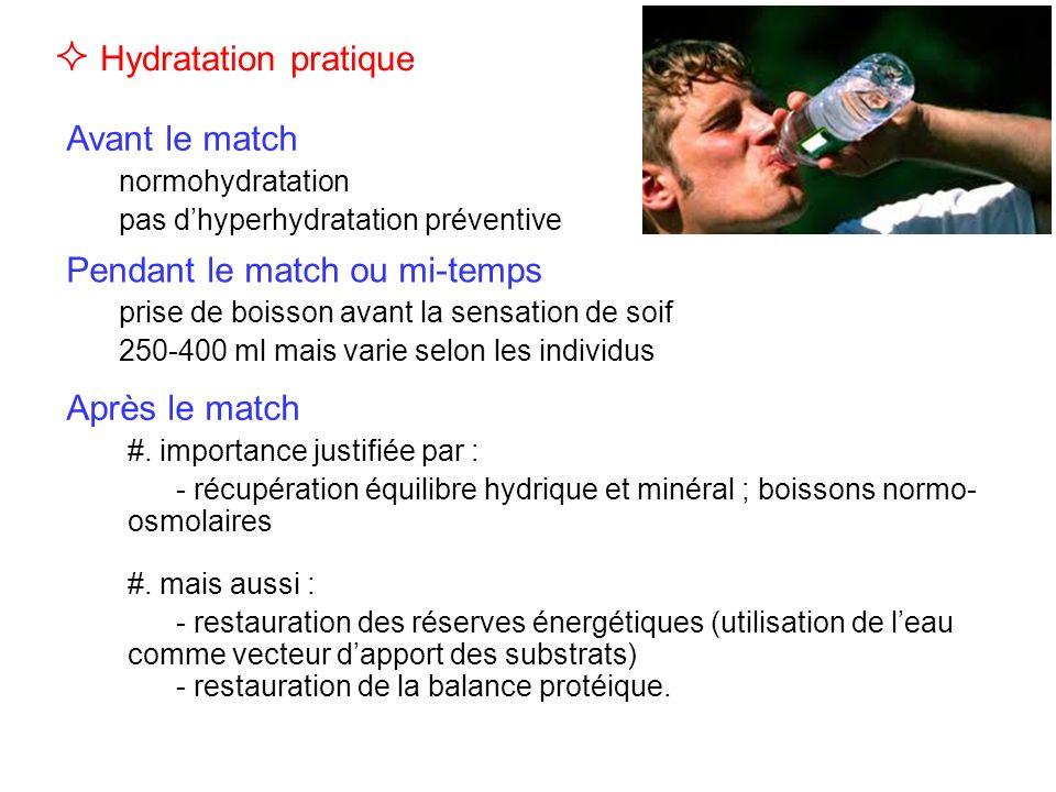 Avant le match normohydratation pas dhyperhydratation préventive Hydratation pratique Pendant le match ou mi-temps prise de boisson avant la sensation de soif 250-400 ml mais varie selon les individus Après le match #.