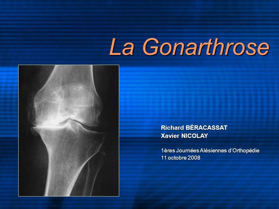 La Gonarthrose Richard BÉRACASSAT Xavier NICOLAY 1ères Journées Alésiennes dOrthopédie 11 octobre 2008