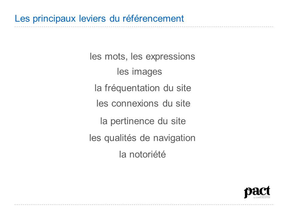 les mots, les expressions les images la fréquentation du site la pertinence du site les connexions du site les qualités de navigation la notoriété Les
