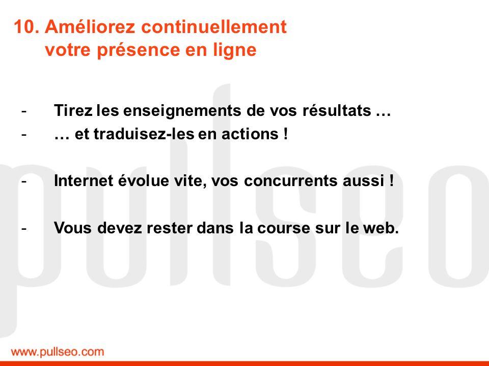 10. Améliorez continuellement votre présence en ligne -Tirez les enseignements de vos résultats … -… et traduisez-les en actions ! -Internet évolue vi