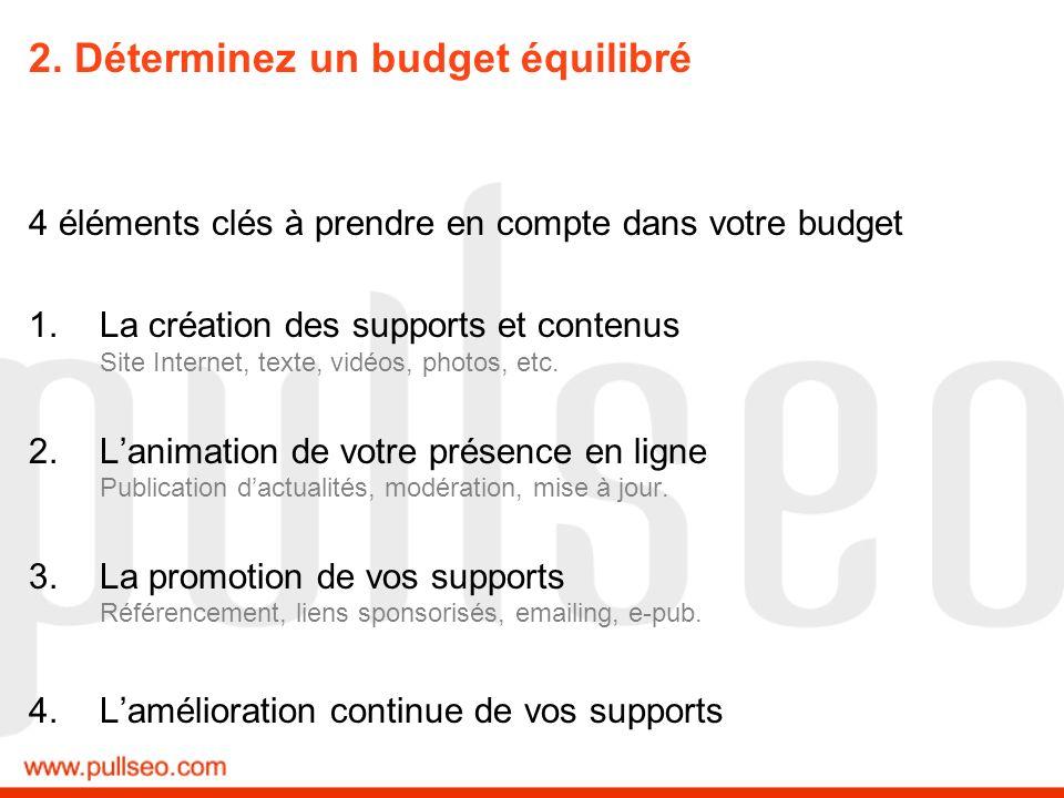 2. Déterminez un budget équilibré 4 éléments clés à prendre en compte dans votre budget 1.La création des supports et contenus Site Internet, texte, v