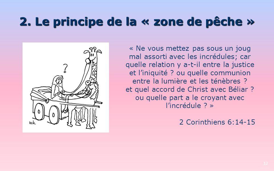 2. Le principe de la « zone de pêche » 12 « Ne vous mettez pas sous un joug mal assorti avec les incrédules; car quelle relation y a-t-il entre la jus