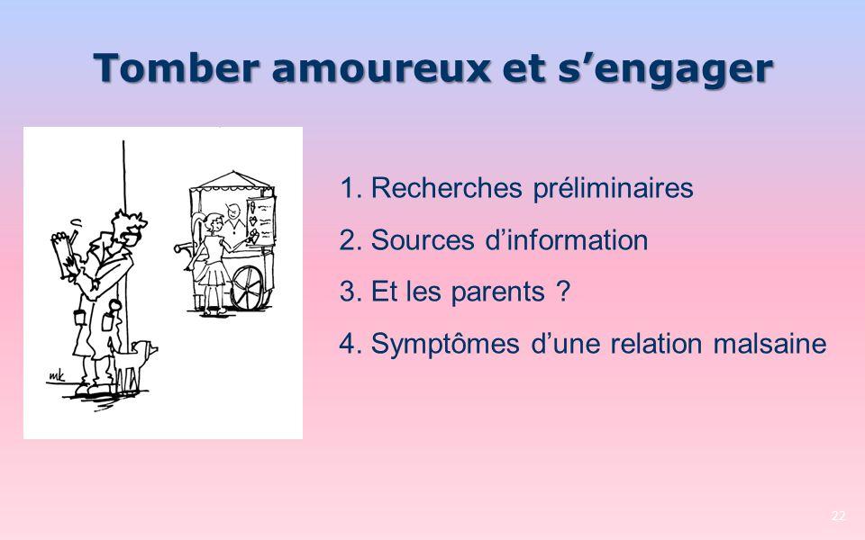 Tomber amoureux et sengager 22 1. Recherches préliminaires 2. Sources dinformation 3. Et les parents ? 4. Symptômes dune relation malsaine