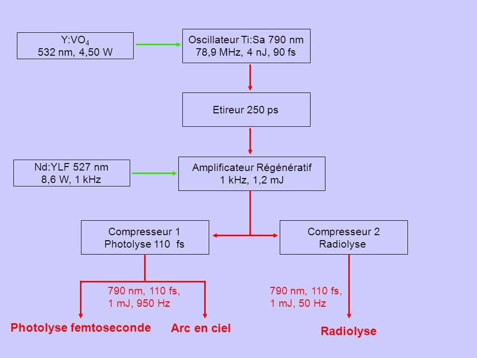 Y:VO 4 532 nm, 4,50 W Oscillateur Ti:Sa 790 nm 78,9 MHz, 4 nJ, 90 fs Etireur 250 ps Amplificateur Régénératif 1 kHz, 1,2 mJ Compresseur 1 Photolyse 11