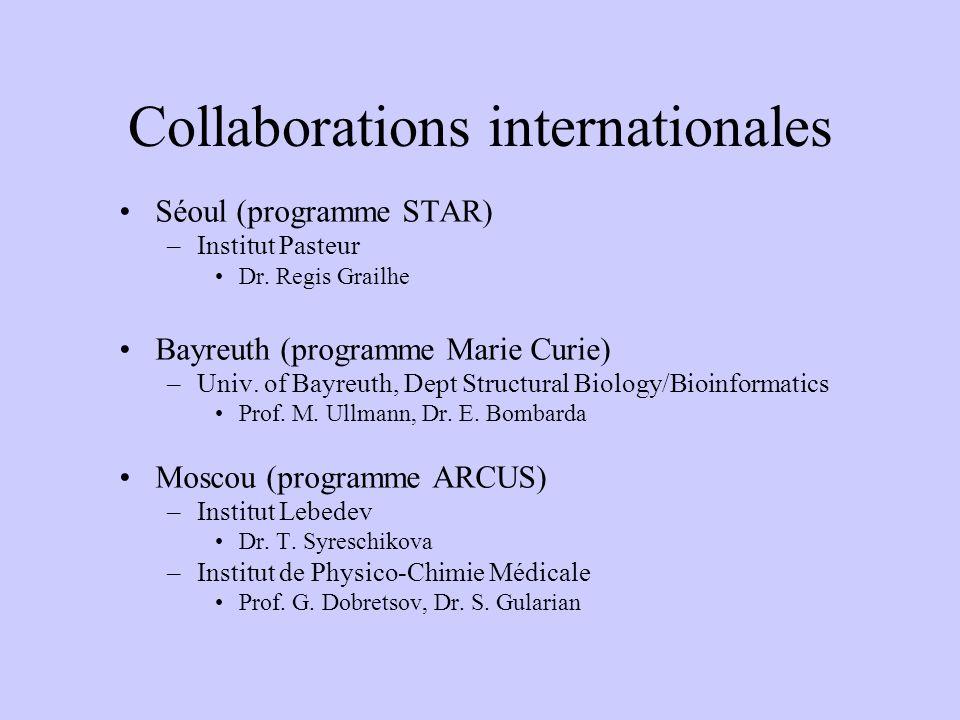 Collaborations internationales Séoul (programme STAR) –Institut Pasteur Dr. Regis Grailhe Bayreuth (programme Marie Curie) –Univ. of Bayreuth, Dept St