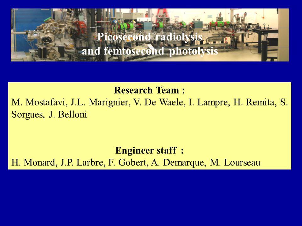 Research Team : M. Mostafavi, J.L. Marignier, V. De Waele, I. Lampre, H. Remita, S. Sorgues, J. Belloni Engineer staff : H. Monard, J.P. Larbre, F. Go
