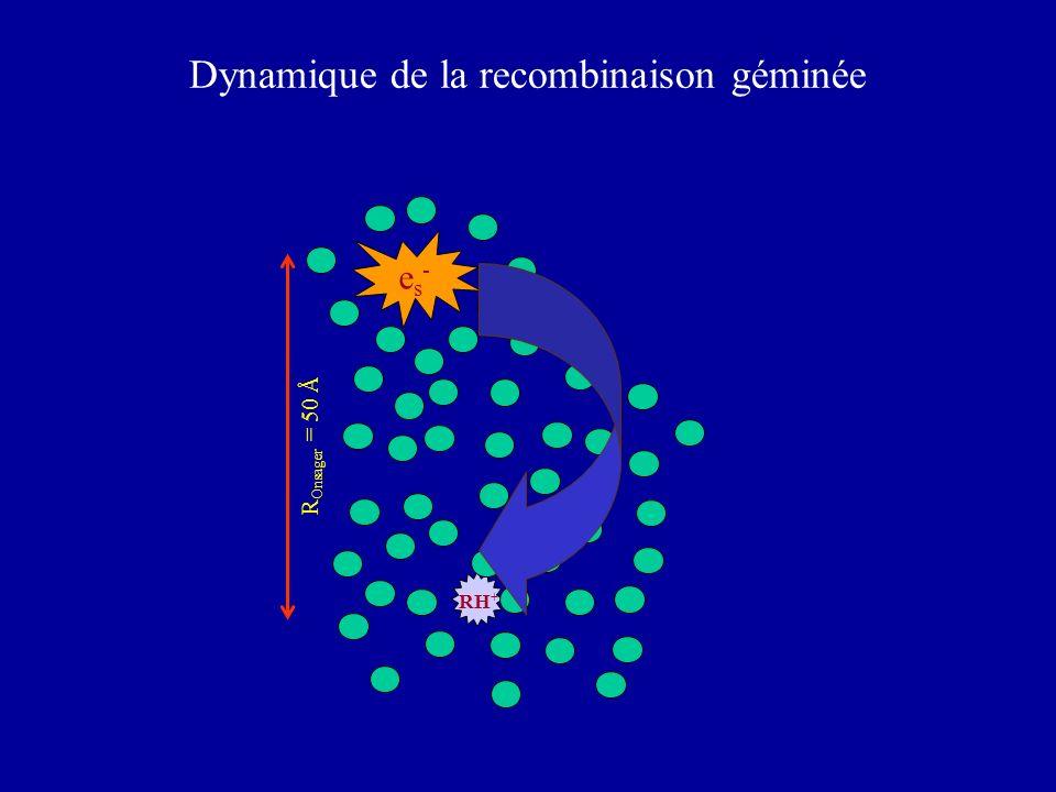 RH + es-es- Dynamique de la recombinaison géminée R Onsager = 50 Å
