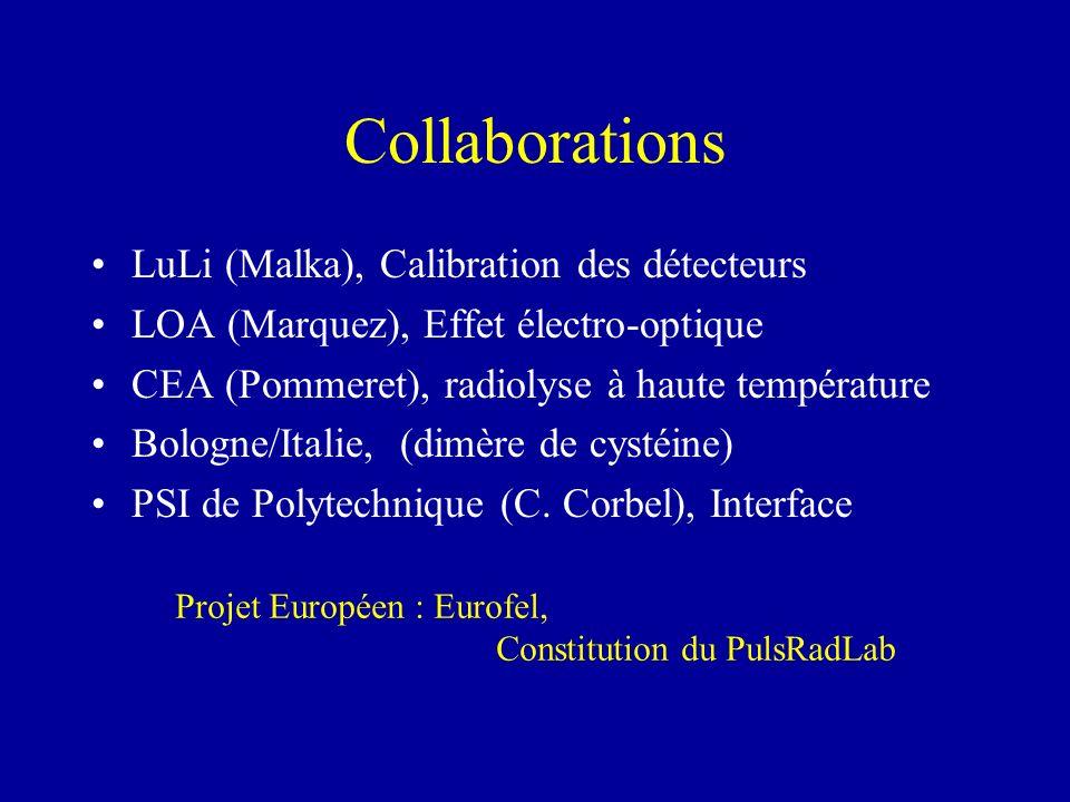 Collaborations LuLi (Malka), Calibration des détecteurs LOA (Marquez), Effet électro-optique CEA (Pommeret), radiolyse à haute température Bologne/Ita