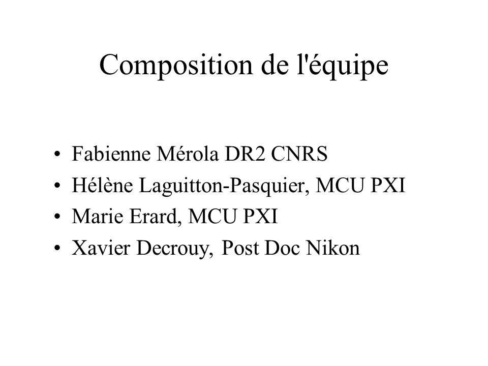 Composition de l'équipe Fabienne Mérola DR2 CNRS Hélène Laguitton-Pasquier, MCU PXI Marie Erard, MCU PXI Xavier Decrouy, Post Doc Nikon