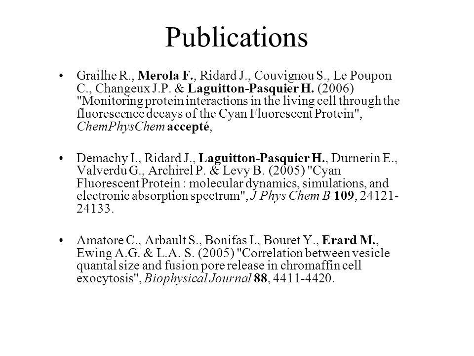 Publications Grailhe R., Merola F., Ridard J., Couvignou S., Le Poupon C., Changeux J.P. & Laguitton-Pasquier H. (2006)