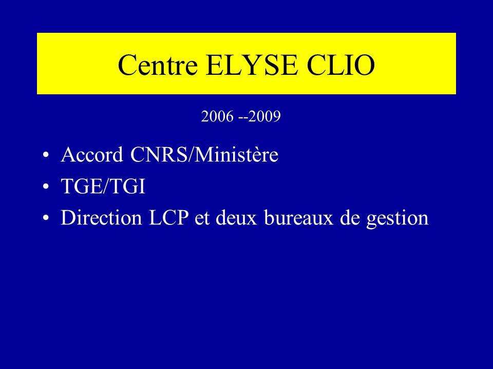 Centre ELYSE CLIO Accord CNRS/Ministère TGE/TGI Direction LCP et deux bureaux de gestion 2006 --2009