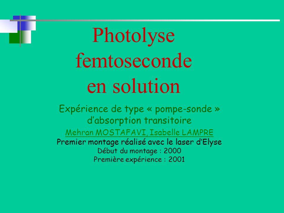 Photolyse femtoseconde en solution Expérience de type « pompe-sonde » dabsorption transitoire Mehran MOSTAFAVI, Isabelle LAMPRE Premier montage réalis