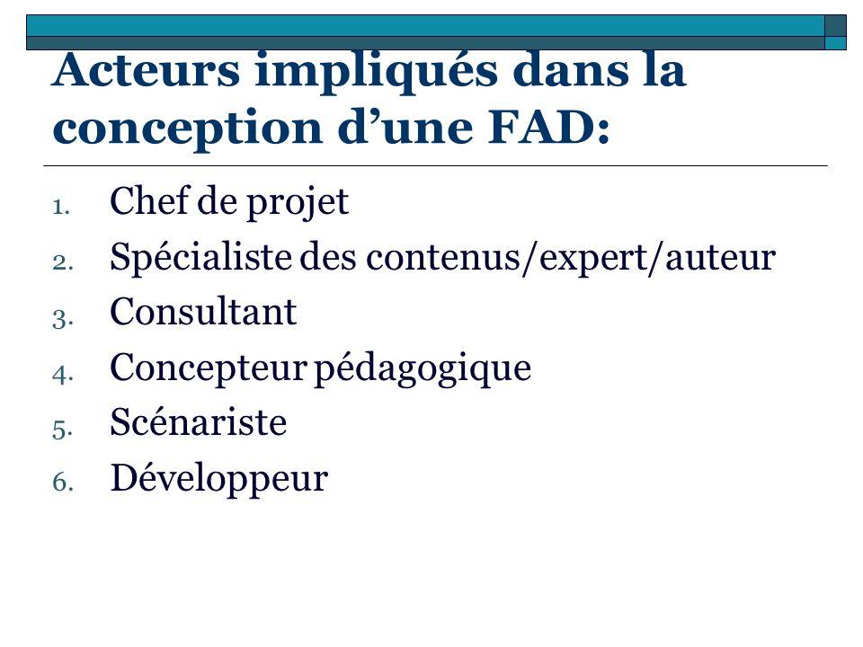 Acteurs impliqués dans la conception dune FAD: 1. Chef de projet 2. Spécialiste des contenus/expert/auteur 3. Consultant 4. Concepteur pédagogique 5.
