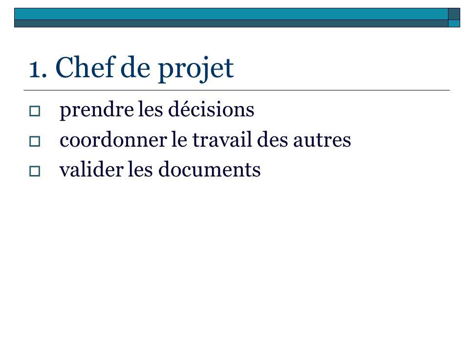 1. Chef de projet prendre les décisions coordonner le travail des autres valider les documents