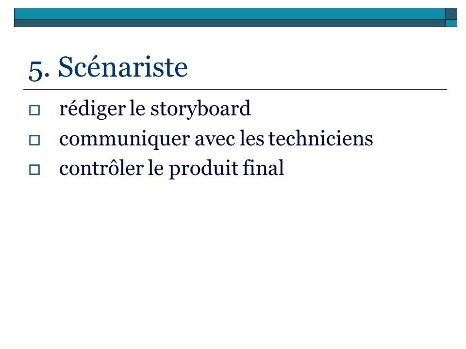5. Scénariste rédiger le storyboard communiquer avec les techniciens contrôler le produit final