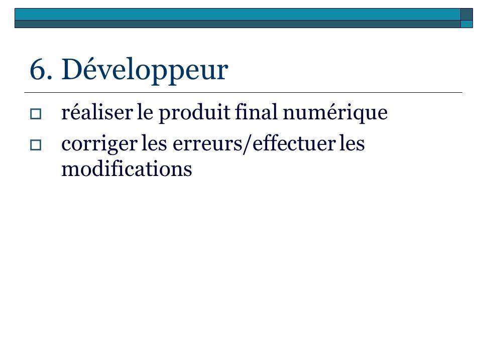 6. Développeur réaliser le produit final numérique corriger les erreurs/effectuer les modifications