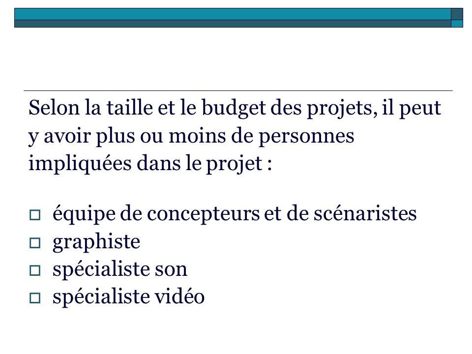 Selon la taille et le budget des projets, il peut y avoir plus ou moins de personnes impliquées dans le projet : équipe de concepteurs et de scénarist