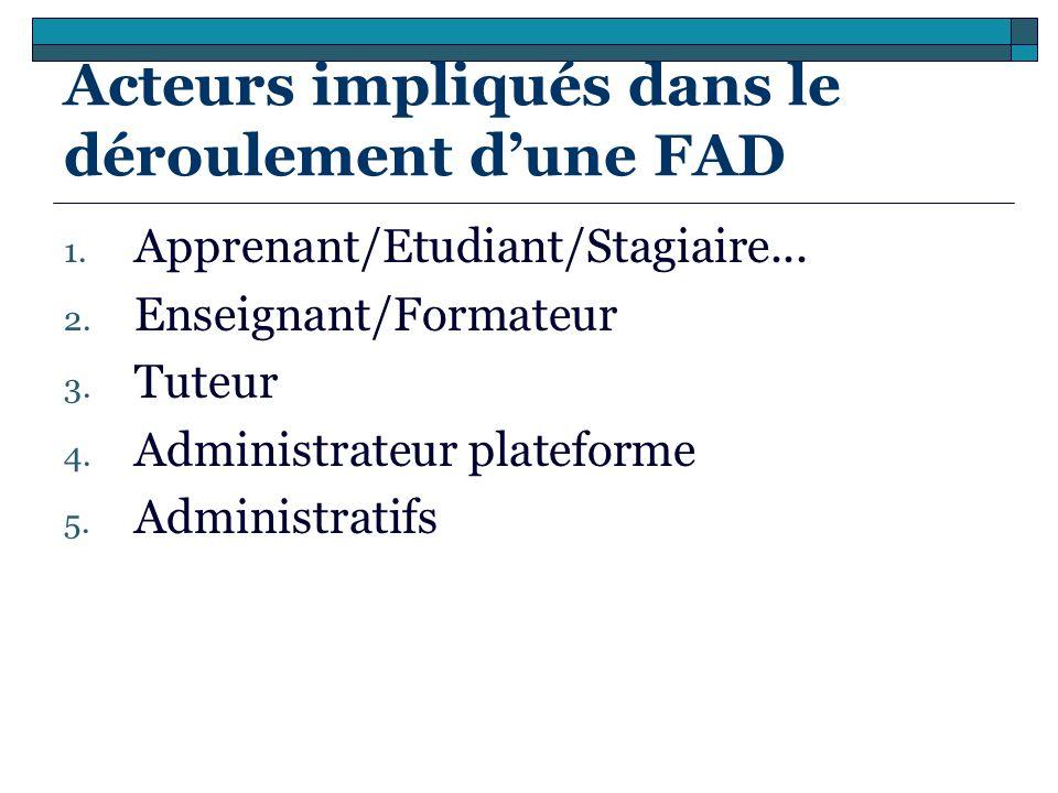 Acteurs impliqués dans le déroulement dune FAD 1. Apprenant/Etudiant/Stagiaire... 2. Enseignant/Formateur 3. Tuteur 4. Administrateur plateforme 5. Ad