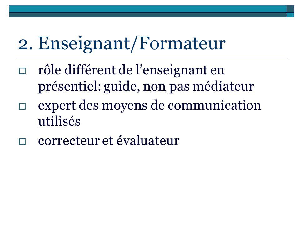 2. Enseignant/Formateur rôle différent de lenseignant en présentiel: guide, non pas médiateur expert des moyens de communication utilisés correcteur e