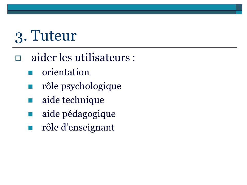 3. Tuteur aider les utilisateurs : orientation rôle psychologique aide technique aide pédagogique rôle denseignant