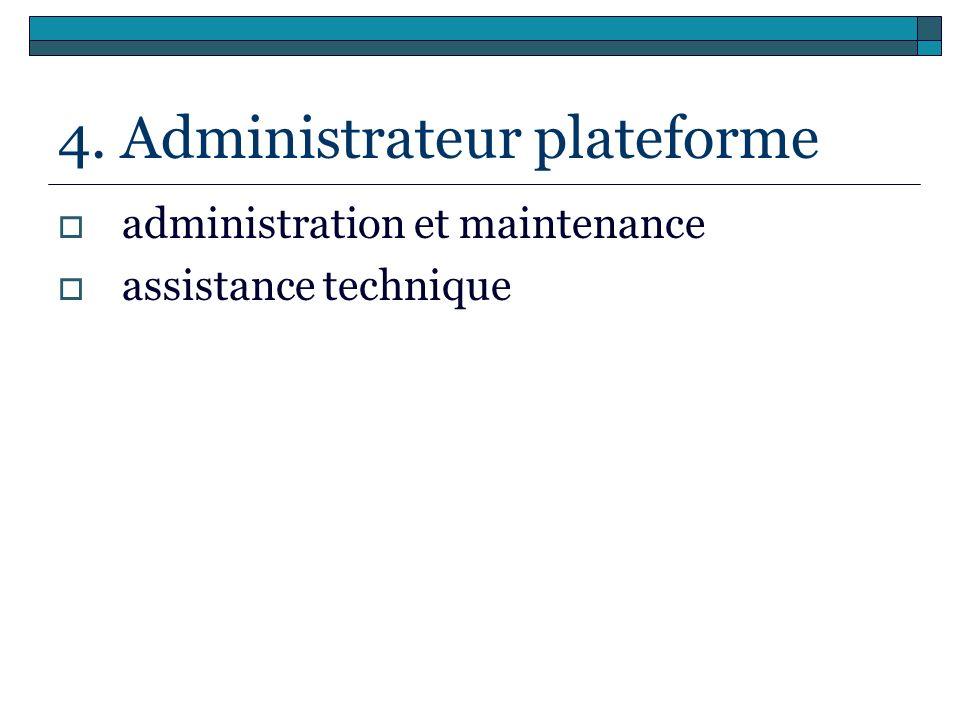 4. Administrateur plateforme administration et maintenance assistance technique