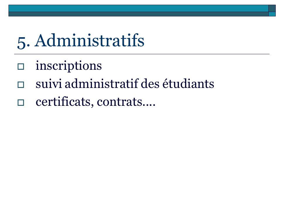 5. Administratifs inscriptions suivi administratif des étudiants certificats, contrats....
