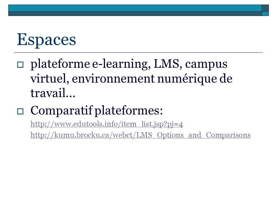 Espaces plateforme e-learning, LMS, campus virtuel, environnement numérique de travail... Comparatif plateformes: http://www.edutools.info/item_list.j