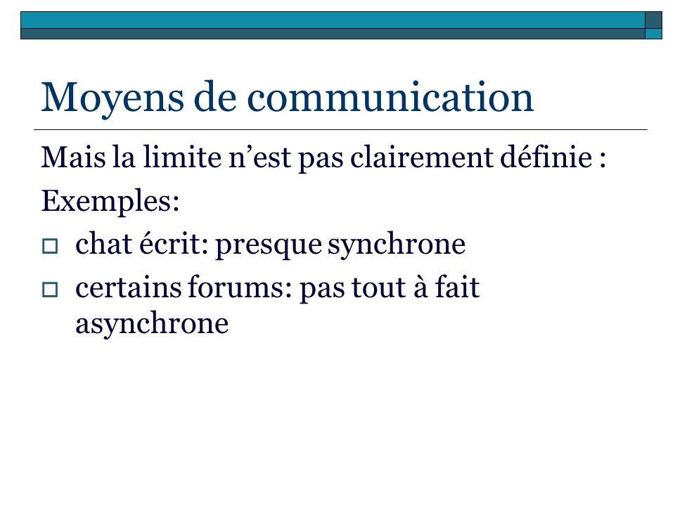 Moyens de communication Mais la limite nest pas clairement définie : Exemples: chat écrit: presque synchrone certains forums: pas tout à fait asynchro