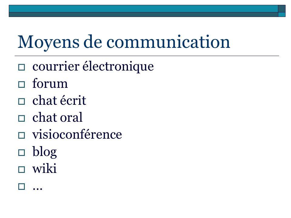 Moyens de communication courrier électronique forum chat écrit chat oral visioconférence blog wiki …