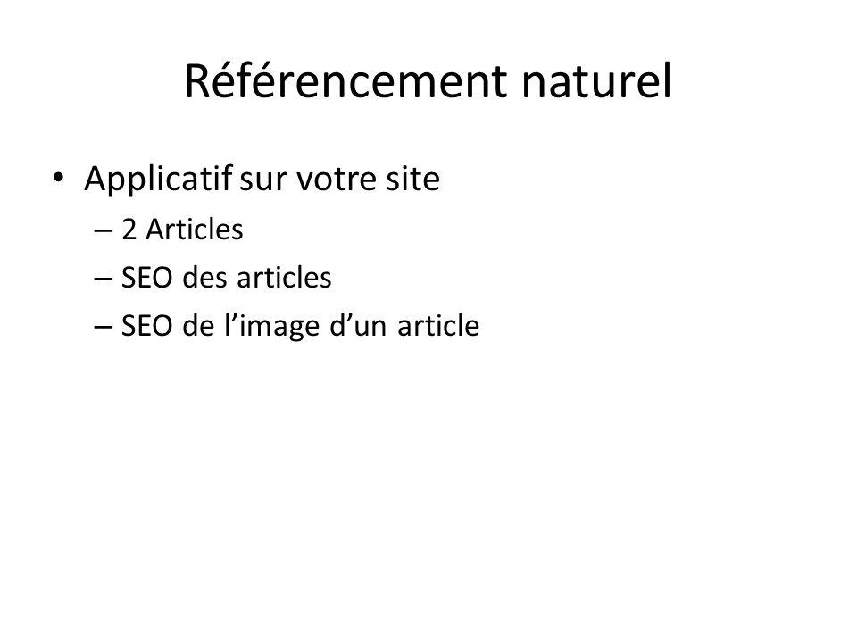 Référencement naturel Applicatif sur votre site – 2 Articles – SEO des articles – SEO de limage dun article