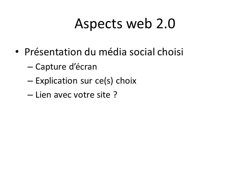 Aspects web 2.0 Présentation du média social choisi – Capture décran – Explication sur ce(s) choix – Lien avec votre site ?