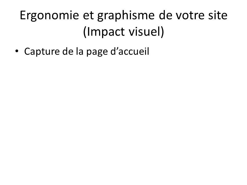 Ergonomie et graphisme de votre site (Impact visuel) Capture de la page daccueil