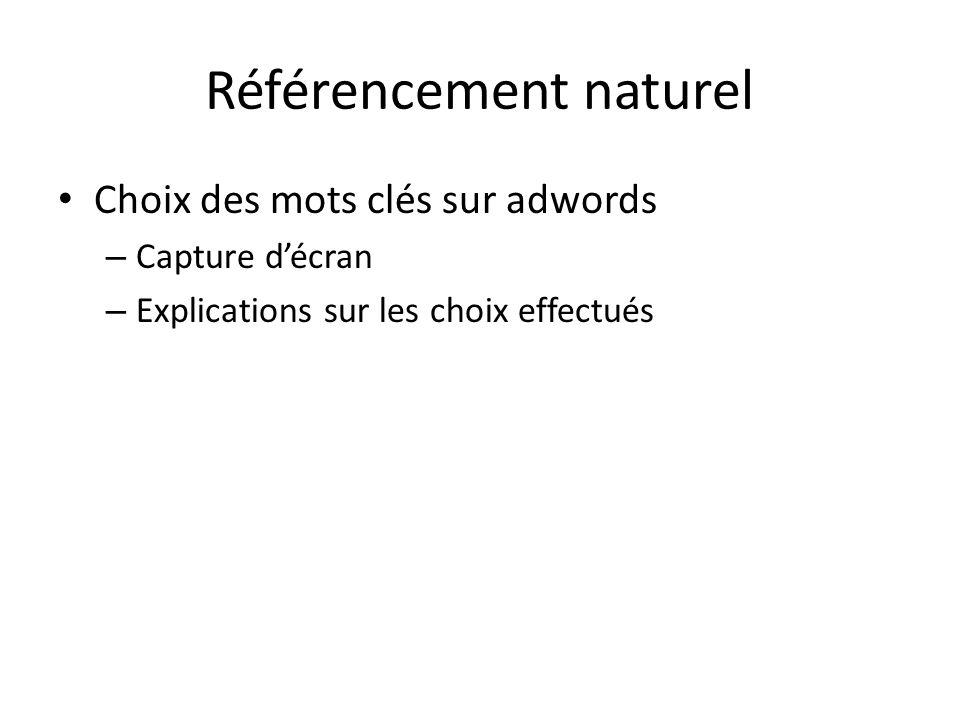 Référencement naturel Choix des mots clés sur adwords – Capture décran – Explications sur les choix effectués