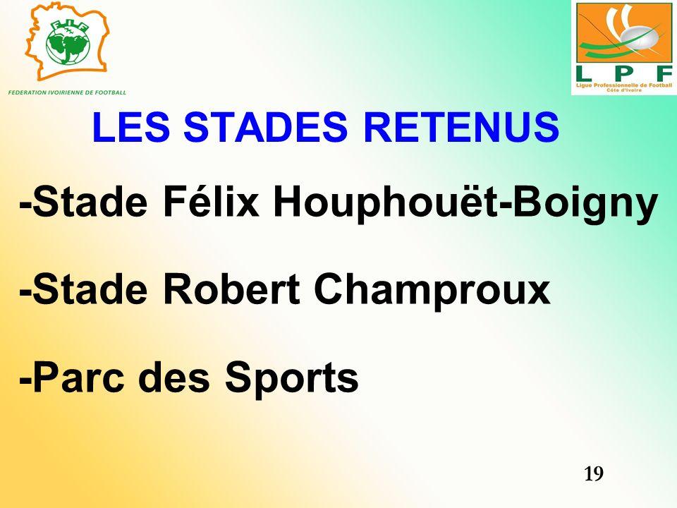 LES STADES RETENUS -Stade Félix Houphouët-Boigny -Stade Robert Champroux -Parc des Sports 19
