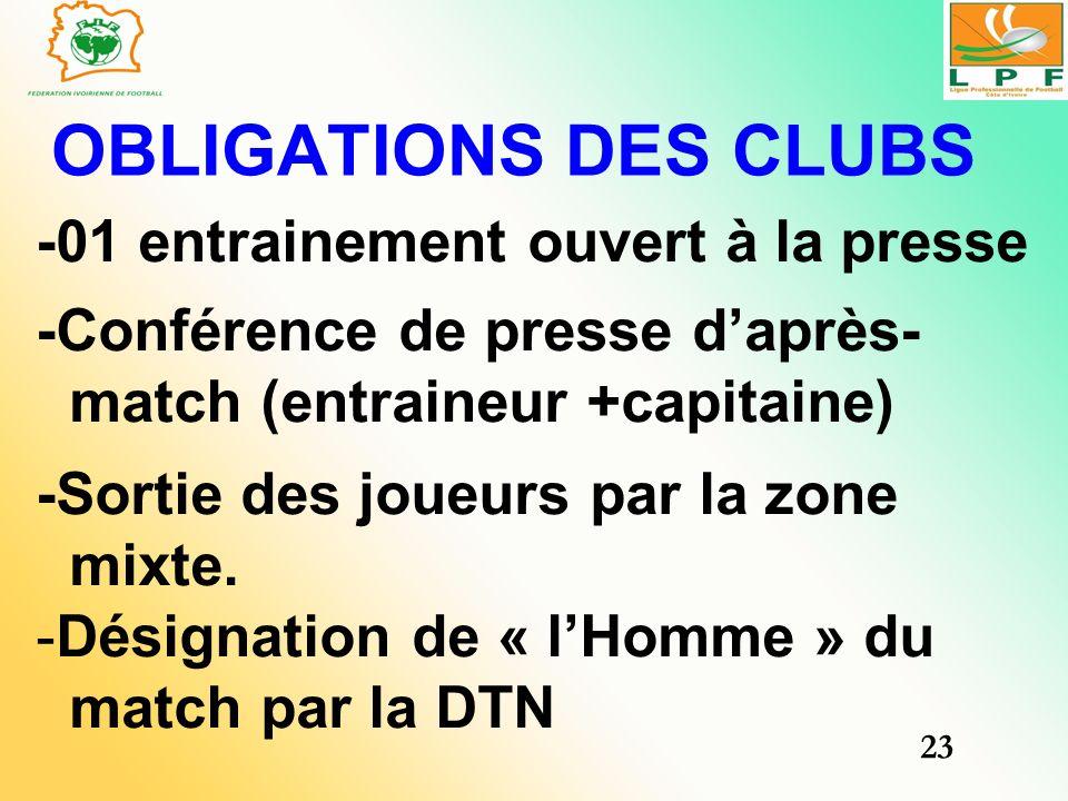 OBLIGATIONS DES CLUBS -01 entrainement ouvert à la presse -Conférence de presse daprès- match (entraineur +capitaine) -Sortie des joueurs par la zone
