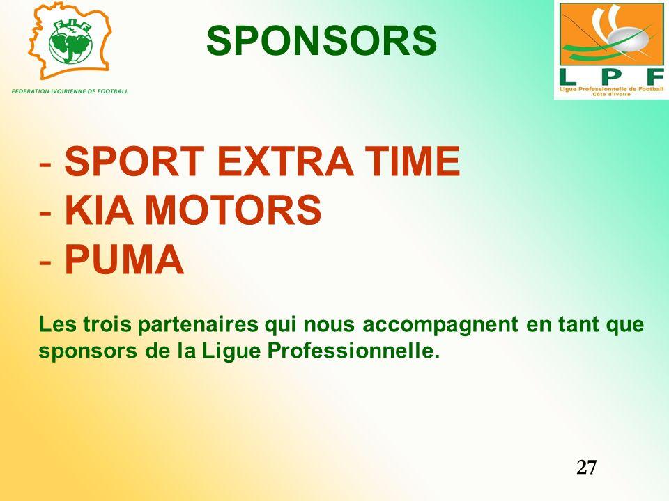 SPONSORS - SPORT EXTRA TIME - KIA MOTORS - PUMA Les trois partenaires qui nous accompagnent en tant que sponsors de la Ligue Professionnelle. 27