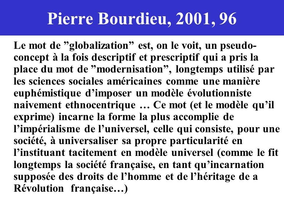 Pierre Bourdieu, 2001, 96 Le mot de globalization est, on le voit, un pseudo- concept à la fois descriptif et prescriptif qui a pris la place du mot d