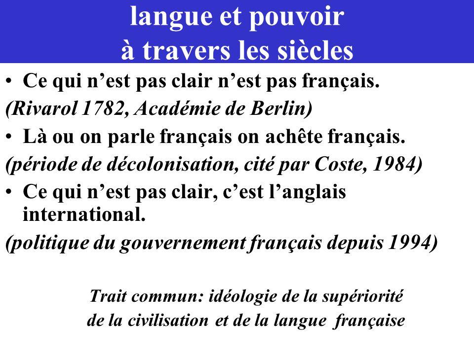 langue et pouvoir à travers les siècles Ce qui nest pas clair nest pas français. (Rivarol 1782, Académie de Berlin) Là ou on parle français on achête