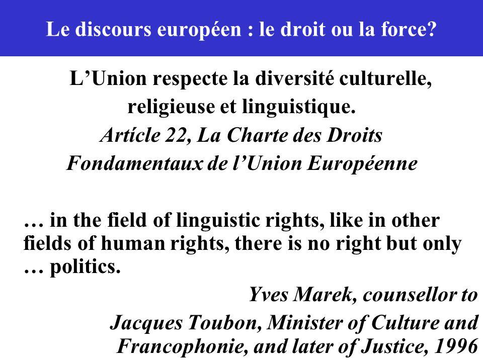 Le discours européen : le droit ou la force? LUnion respecte la diversité culturelle, religieuse et linguistique. Artícle 22, La Charte des Droits Fon