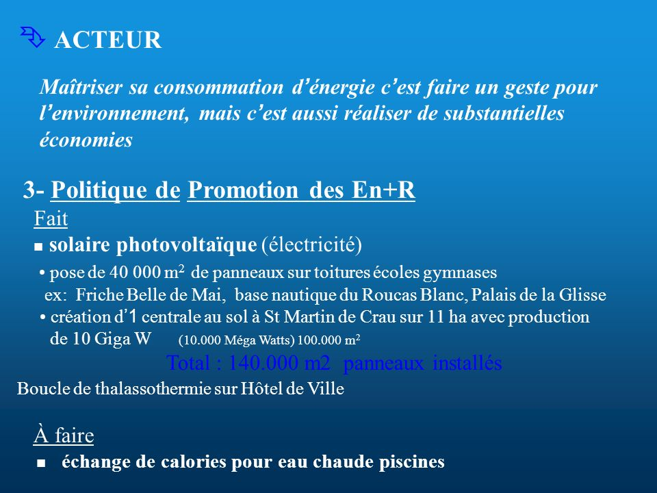 ACTEUR Maîtriser sa consommation d énergie c est faire un geste pour l environnement, mais c est aussi réaliser de substantielles économies 3- Politiq