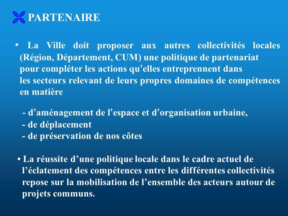 PARTENAIRE La Ville doit proposer aux autres collectivités locales (Région, Département, CUM) une politique de partenariat pour compléter les actions