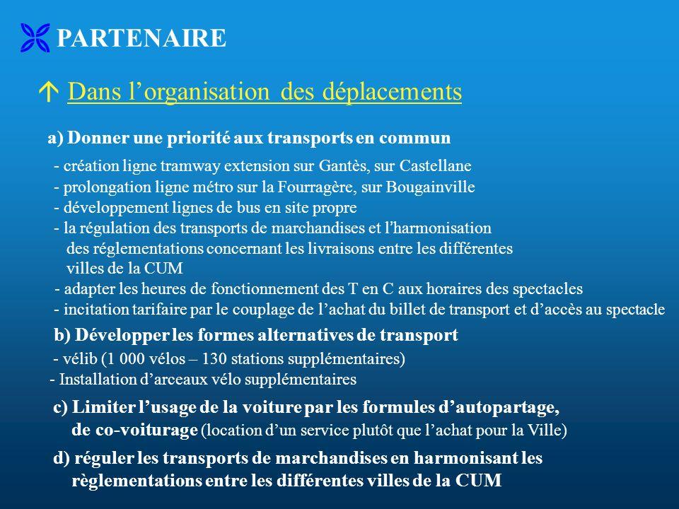 PARTENAIRE Dans lorganisation des déplacements a) Donner une priorité aux transports en commun - création ligne tramway extension sur Gantès, sur Cast