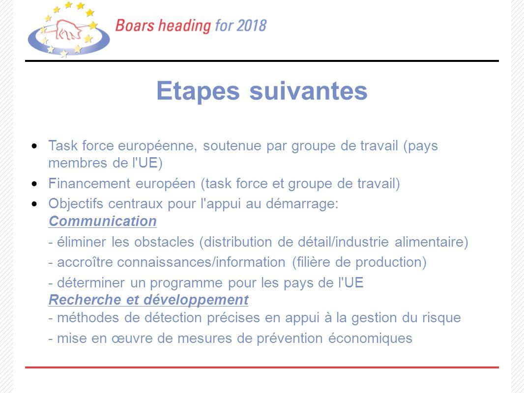 Etapes suivantes Task force européenne, soutenue par groupe de travail (pays membres de l'UE) Financement européen (task force et groupe de travail) O