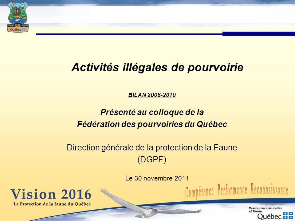 Activités illégales de pourvoirie BILAN 2008-2010 Présenté au colloque de la Fédération des pourvoiries du Québec Direction générale de la protection