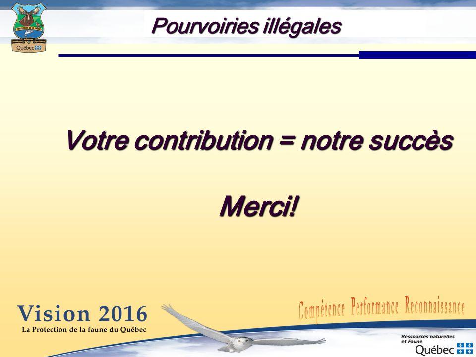 Votre contribution = notre succès Merci! Pourvoiries illégales