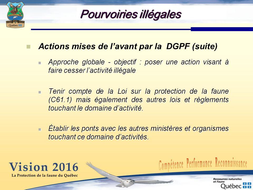 Pourvoiries illégales Actions mises de lavant par la DGPF (suite) Approche globale - objectif : poser une action visant à faire cesser lactivité illég
