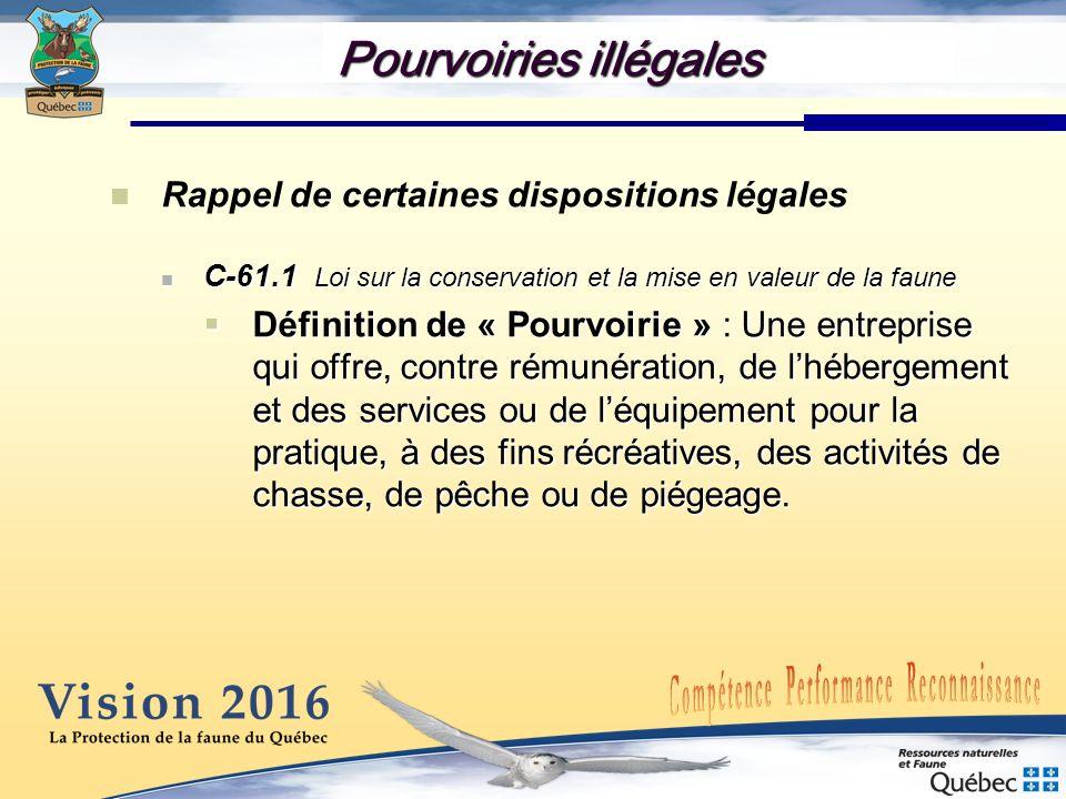 Pourvoiries illégales Rappel de certaines dispositions légales C-61.1 Loi sur la conservation et la mise en valeur de la faune C-61.1 Loi sur la conservation et la mise en valeur de la faune Art.