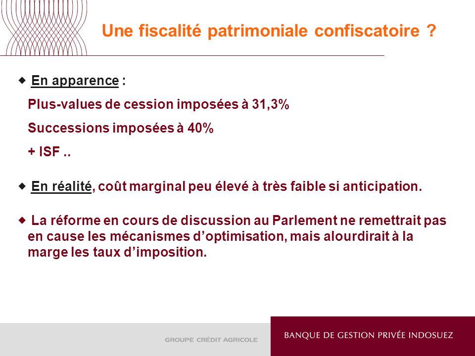 Une fiscalité patrimoniale confiscatoire ? En apparence : Plus-values de cession imposées à 31,3% Successions imposées à 40% + ISF.. En réalité, coût