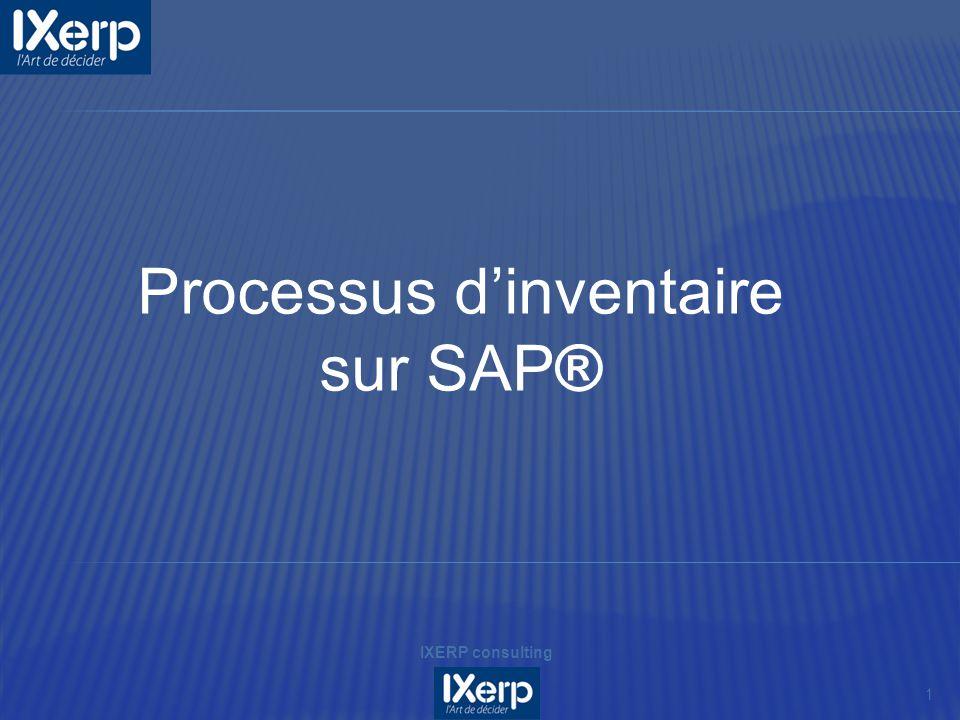 1 IXERP consulting Processus dinventaire sur SAP®
