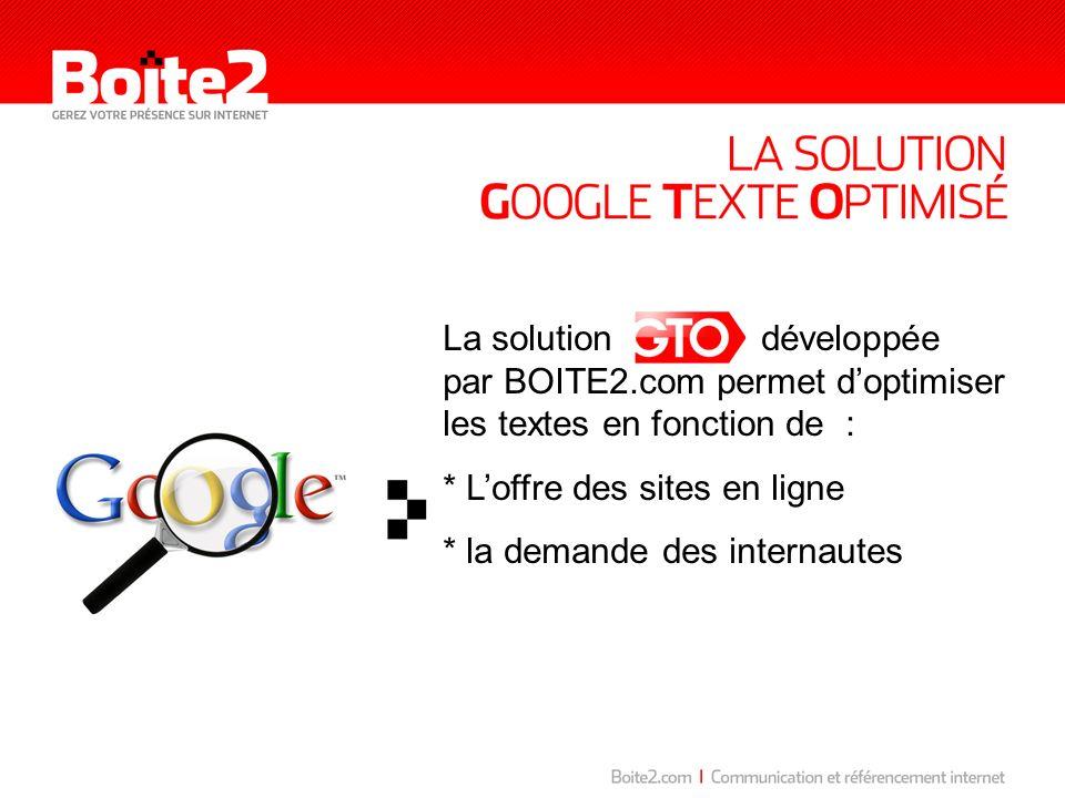 La solution développée par BOITE2.com permet doptimiser les textes en fonction de : * Loffre des sites en ligne * la demande des internautes